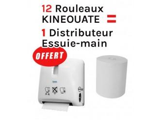Essuie-main : Lot de 12 rouleaux kinéouate + 1 distributeur offert