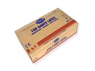 Gants latex : la boite de 100